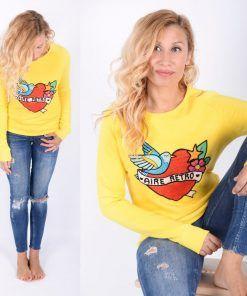 Sudadera amarilla corazón bordado